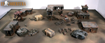 Containers on Wasteland terrain for 28mm wargames