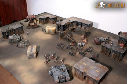 Chaos space marine army on wasteland gameboard