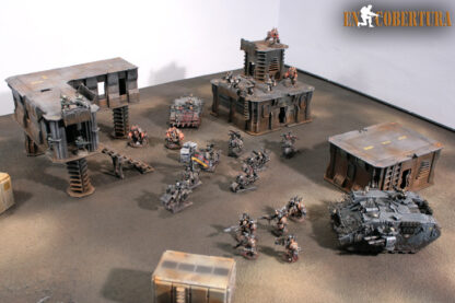 Chaos space marine army on wasteland terrain