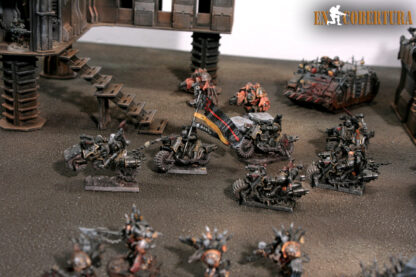 Chaos space marine bikers on wasteland terrains
