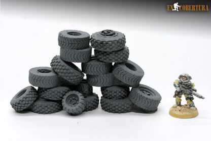 Tyres stacked resin scenery