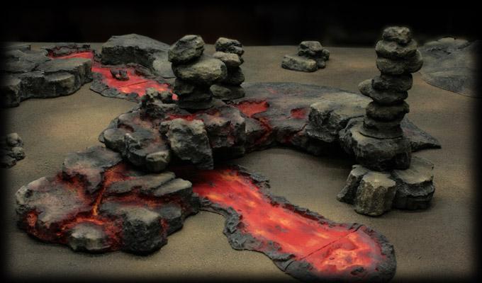 Volcanic terrain wargame scenery
